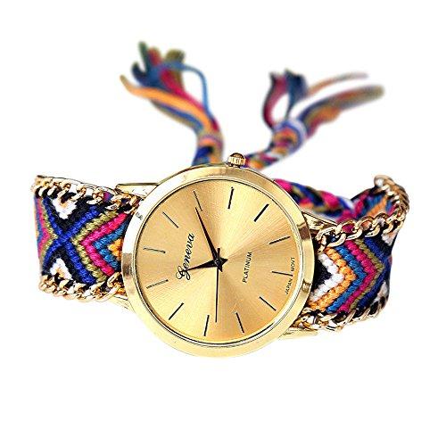 Soul Sisters Handmade Reloj de pulsera hippie boho Style Multicolor Trenzado