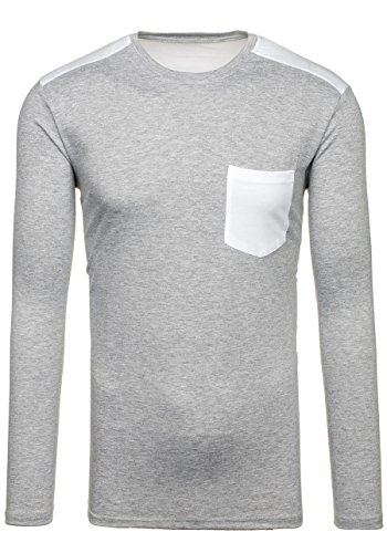 BOLF – Sweat-shirt – Manches longues – MIX – Homme Gris_202