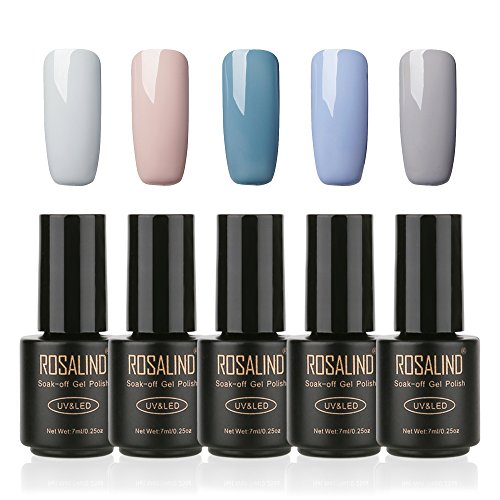Rosalind Nagellack Set graue Farb Serie Gel-Lack UV-LED-von lang anhaltendem Gel-Lack Nagel Salon, 5 Flasche Verkaufsförderung(grau 1)