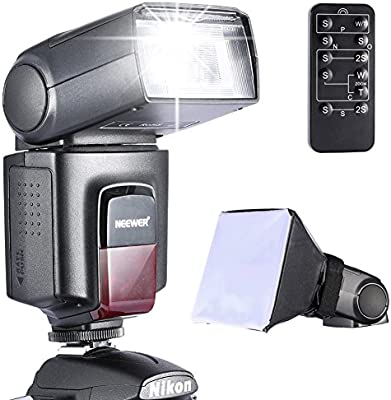 Neewer® Photo TT520 Speedlite - Kit de flash para Canon, Nikon, Olympus, Fujifilm y cualquier cámara digital con rótula estándar (incluye flash Neewer Flash, difusor de flash Softbox y disparador inalámbrico universal por infrarrojos)