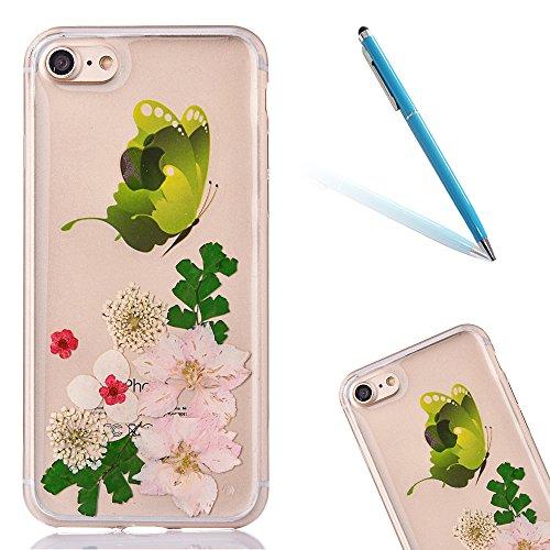 Cassa in Molle Rubber per Apple iPhone 6/6s 4.7(NON iPhone 6Plus/6sPlus 5.5), CLTPY Black Handmade Naturale Flower Essiccate Fiore Case Protettiva Ultra Sottile Morbido e Flessibile in TPU Silicone  Fiore 19