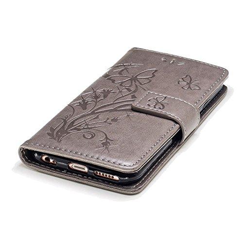 Portefeuille Coque pour iPhone 6 / 6S,SKYXD Magnétique Flip Cuir Portefeuille Cas Couverture avec Balle Stylo Toucher Style pour Apple iPhone 6 / 6S + Bouchon de poussiere + Stylo,Bleu Gris