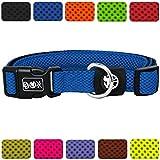 DDOXX Hundehalsband Air Mesh | für große & kleine Hunde | Katzenhalsband | Halsband | Halsbänder | Hundehalsbänder | Hund Katze Katzen Welpe Welpen | klein breit Leuchtend bunt | Blau, XS