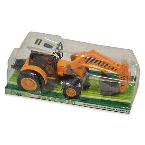 Best For Kids Baufahrzeug Traktor Bagger Stabiler & robuster Kinderspielzeug Bagger aus Kunststoff für den Sandkasten