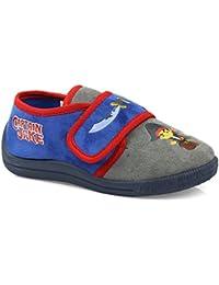 Disney Jake The Pirate - Zapatillas de estar por casa de Terciopelo para niño azul azul, gris