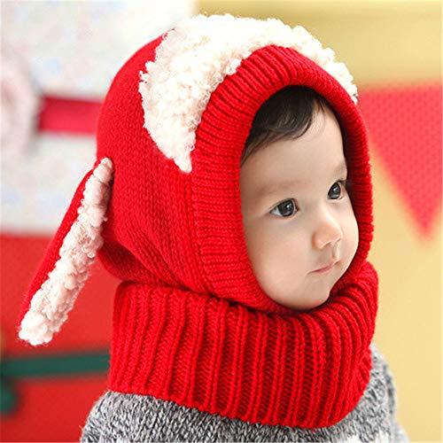 mlpnko Kinder Latzschal superweiche Wolle Baby Ohrenschützer warme Strickmütze einteilig rot 46-51cm (Park Ranger Kostüm Kinder)
