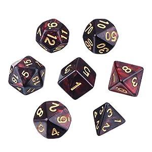 EBOOT Dados poliedros de 7 troqueles compatibles con el juego de dados DND Dungeons and Dragons con bolsa negra
