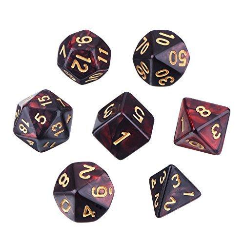 Dados Poliédricos Set de 7-Dados para Dungeons y Dragons con Bolsa Negra (Negro Rojo)