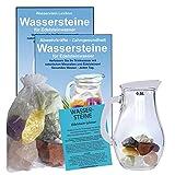 EDELSTEIN WASSER FIT & SCHLANK 5-tlg SET. 300g WASSERSTEINE zur Wasseraufbereitung für Trinkwasser + 0,5 L Glaskrug Karaffe + Anleitung + Zubehör. 90038-1