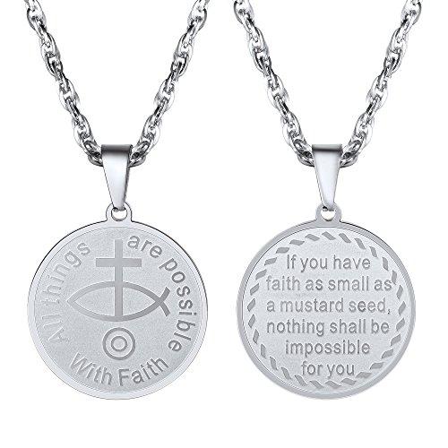 PROSTEEL Halskette Edelstahl Christliches Fisch-Symbol Anhänger Jesus Christus Kreuz Religion Modeschmuck für Herren, Silber (Fisch Herren)