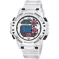 Reloj digital de pulsera para hombre, diseño deportivo militar, impermeable, con pantalla electrónica LED y retroiluminación, 12 horas / 24 horas, cronómetro 100 / 1, calendario, fecha, hecho de plástico con correa de caucho, blanco, Sport