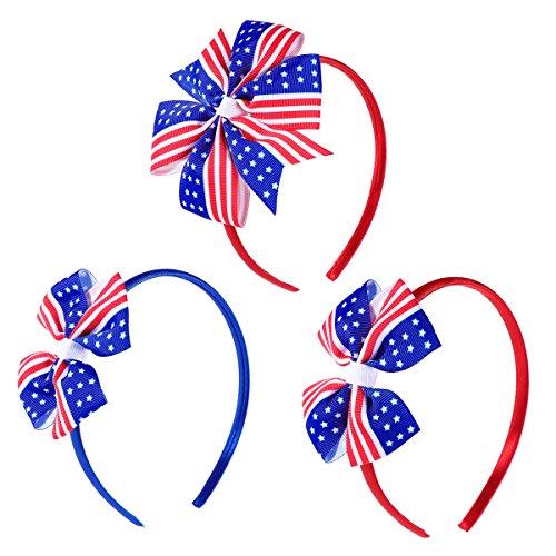 Nationalen Amerikas Schätzen (LUOEM Patriotische Stirnband Amerika Flagge Hairhoop Haar Verschlüsse Mädchen Bowknot Haarband für Kinder Unabhängigkeitstag 4. Juli Haar Zubehör 3 STÜCKE)