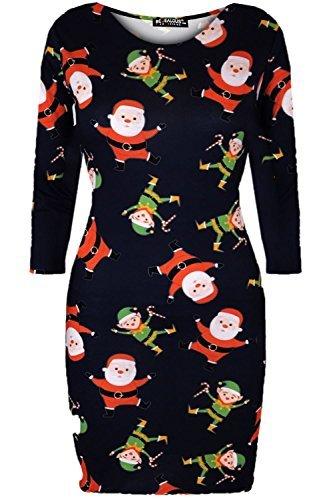 Oops Outlet Damen Weihnachten Damen Olaf Rudolph Rot Nase Rentier Schneeflocke Midi Bodycon Kleid Santa und Elfen Marineblau