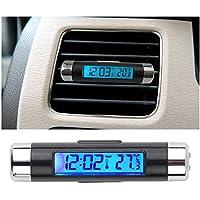 HappyCow coche Auto LCD Clip-on Digital BackLight automotriz termómetro reloj calendario