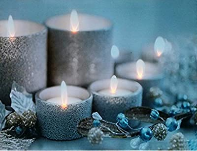 LED Canvas Picture Wall Art With Twinkling Lights Illuminated Candle - Modern Candles Themed