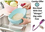 #3: Woogor Rice Pulses Fruits Vegetable Noodles Pasta Multipurpose Washing Bowl & Strainer,( Set Of 2 Bowl ) Good Quality & Perfect Big & Largest Size for Storing and Straining plastic Bowl For washing of Rice,Quinoa, Vegetables and Fruits Easier Prep and Serve Multi-Function Bowl with Integrated Colander,Assorted Colors With One