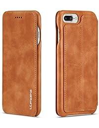 Funda iPhone 7 Plus, Funda iPhone 8 Plus ,COOSTOREEU Funda Avanzada PU de Cuero Magnética Protectora con Ranura para Tarjeta,Marrón Claro