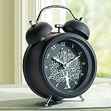 NLEADER Noche de luz Alarma clásica Alarma retro con Alarma fuerte y Alarma de silencio de retroiluminación Alarma gemela de metal Bell (Negro)