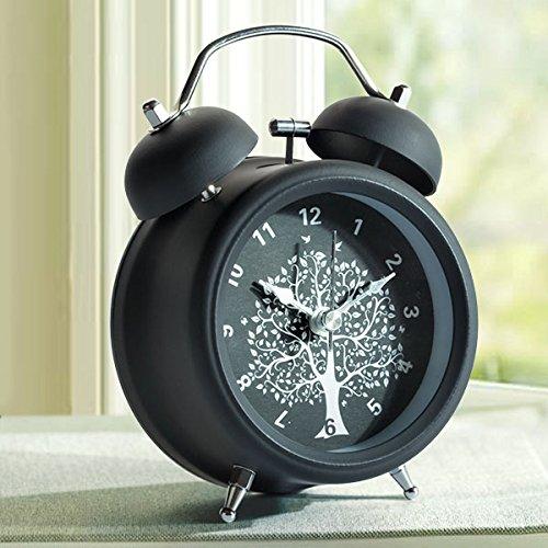 Nleader allarme classico notte luce retrò sveglia con allarme e allarme silenzio retroilluminazione campana doppia sveglia in metallo nero
