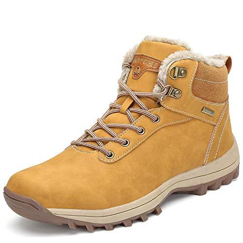 Mishansha Uomo Stivali da Neve Invernali Scarpe Allineato Pelliccia Caloroso Caviglia Piatto Stivaletti Sportive Boots Escursionismo Giallo 47 EU