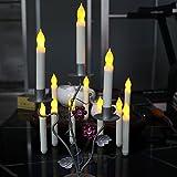 """Senza Fiamma Cono Candele Set di 12 Taper Pilastro LED Candele Lampada Batteria per la Decorazione Domestica Compleanno, Chiese, Partiti e Natale -Batterie non incluse (6.5""""H x 0.8"""" D) (Lungo)"""