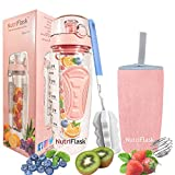 #5: Nutriflask Fruit Infuser Water Bottle - 1 Litre BPA Free Tritan with Time Tracker – Full Length Infuser I Includes Detox Weight Loss and Infusion Recipes eBook, Cleaning Brush, Protein Shaker Ball & Anti-Sweat Sleeve Cover for Bottles