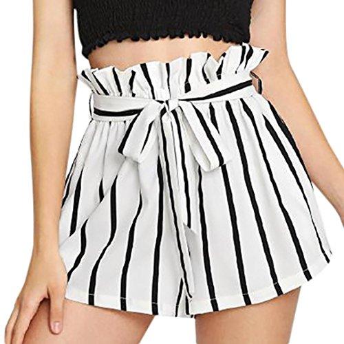 SHOBDW Pantalones Cortos elásticos de la Playa de la impresión de la Raya  de Las Mujeres 74d44002a488