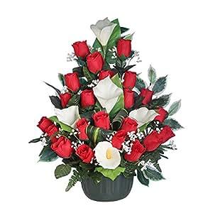 Ligne Déco 481305WO - Fiori artificiali per cimitero, vaso con zavorra, composizione di arum, boccioli di rosa e gypsophila, 52 cm