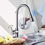 LIBINA - bathroom 360 ° Küche Wasserhahn-Mixer, flexibel ziehen Spülküche Küche Handdusche Küche kalte Warmwasser-Einhebel-Messing
