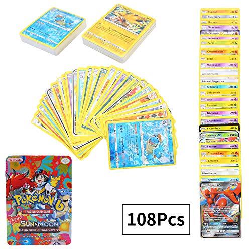 108Pcs Jeu de Cartes Pokemon Cartes, Carte de Pokemon Amusant pour Enfants, Cartes à Collectionner, GX EX Cartes, Sun & Moon Series Burning Shadows
