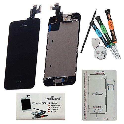 Trop Saint® Vetro Schermo di ricambio per iPhone 5S Nero Retina Completo, LCD Display - Tasto Home, Fotocamera e Sensore Di Prossimita - con gli strumenti - alta qualità