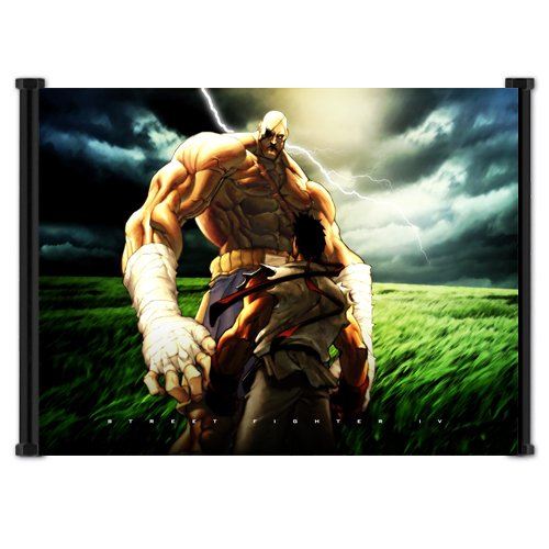 Street Fighter Anime Game Ryu vs Sagat Fabric Wall Scroll Poster (21