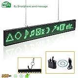 Cartel luminoso programable Leadleds para mensajes, diseño ultrafino P5mm, 16 x 96 píxeles, LED SMD, con desplazamiento, color verde