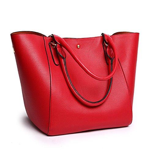 Tibes Moda spalla sacchetto impermeabile borsetta di pelle sintetica C Rosso 2