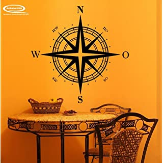 Kompass als Wandtattoo oder Autoaufkleber in 27 Farben und versch. Gr. - ca. 61 x 60 cm (bxh) - SCHWARZ
