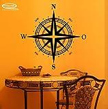 Kompass als Wandtattoo oder Autoaufkleber in 27 Farben und versch. Gr. - ca. 48 x 48 cm (bxh) - SCHWARZ