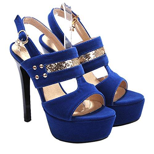 YE Damen Wildleder Offen Zehen Stiletto High Heel plateau sandalen mit Glitzer und Schnalle Pumps Schuhe Blau
