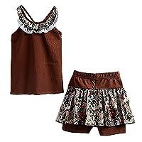 LittleSpring Little Girls' Shorts Set Summer Flower Sleveless Size 6-7 Coffee