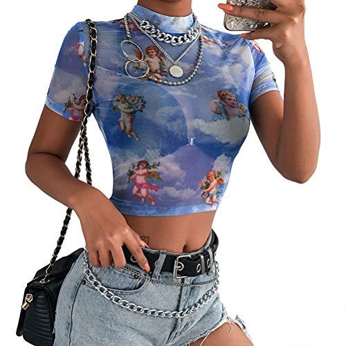 47f12cec3 Fenical Maglia T-Shirt Angel Printed See Through Midriff - Top a Maniche  Corte Sheer