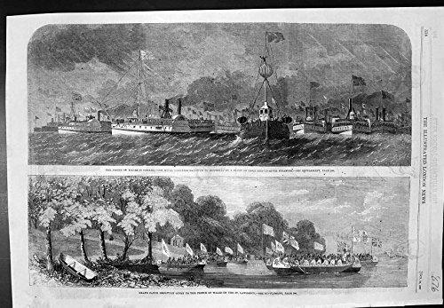Antiker Druck Dampfer-Kanu-Aufnahme 1860 Prinz-Wales Eskortierter Montreal