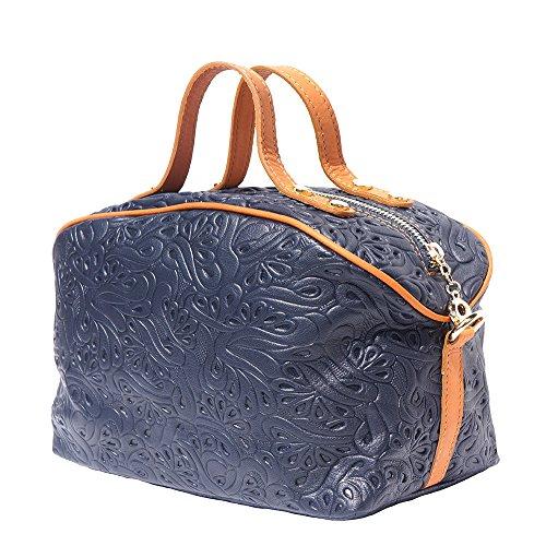 Borsa porta trucchi in pelle 301 Blu scuro-cuoio