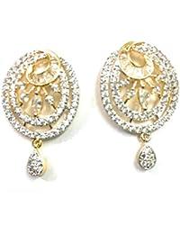 OranGey Fashion - Beautiful Earrings Fine Gold Finish AD CZ Original Gemstone Beautiful Drop Earring For Womens...