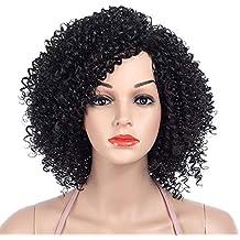 DakTou Peluca Afro Mujer Peluca Rizadas Afro Natural Peluca Disfraz Negra Bob Sintetica Pelo Corta 1B