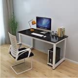 Dripex Modern Simple Style Steel Frame Wooden Home Office Table - Computer PC Laptop Desk Study Table Workstation for Home Office and More (Black)
