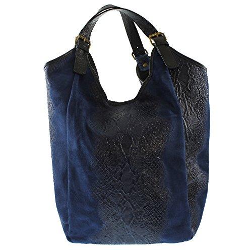CTM Sac à main de femme, sac d'épicerie dans un véritable sac de cuir italien fabriqué en Italie, Faune Style d'impression 46x37x5 Cm