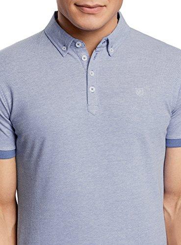 oodji Ultra Herren Poloshirt mit Kontrastbesatz auf den Ärmeln Blau (7410J)