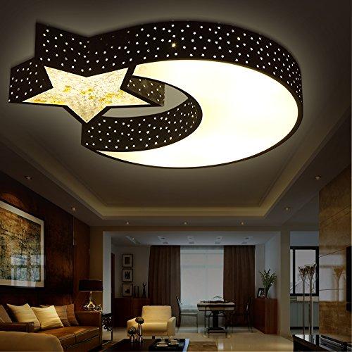 Mond Trommel-kunst (Kinder Lampe led-Decke Lampe modern minimalistischen Ideen junge Zimmer Sterne leuchten Mädchen Schlafzimmer Lampe Studie der Leuchten,Schwarzen 42W unendliche Dimmen)