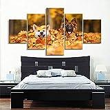 YJHCZC Rahmenlose 5 Gemälde Moderne Für Malerei Modulare Günstige Bilder 5 Panel Tier Wölfe Wandkunst Für Wohnzimmer Wohnkultur Kunstwerk Leinwand