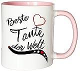 Mister Merchandise Kaffeebecher Tasse Beste Tante der Welt Schwester Schwägerin Schwanger Geburt Kind Teetasse Becher Weiß-Rosa