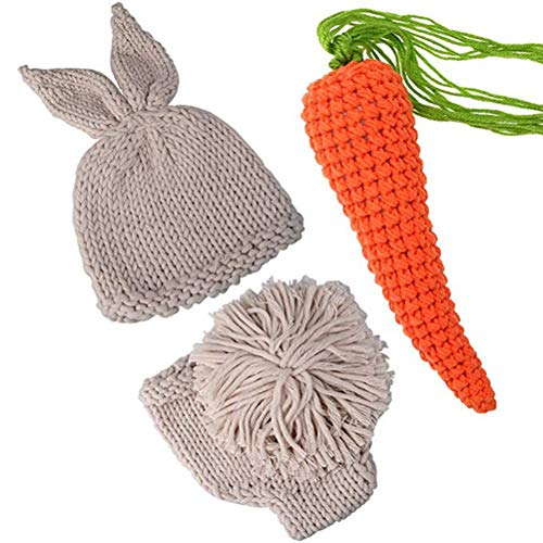 Babyfotografie Neugeborenes Baby Kaninchen Figur Foto Kostüm Fotografie Prop Handarbeit Bekleidungsset Fotoshooting Stricken Tiere Kostüm Für 0-3 Monate
